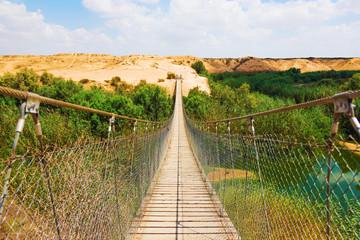 suspension bridge over the river