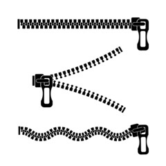 silhouette of a metal zipper on a white background