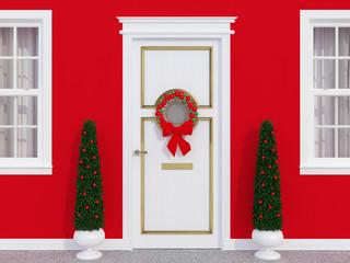 Front door with wreath.