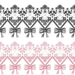 Seamless lace ribbon pattern on white background