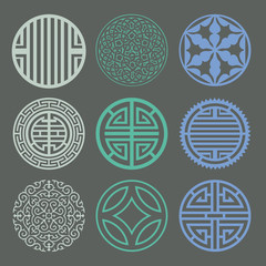 Round grid Symbol sets. Geometric Pattern Design. Korean traditi