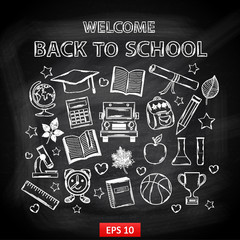Chalk board Welcome back to school,with thematic elements