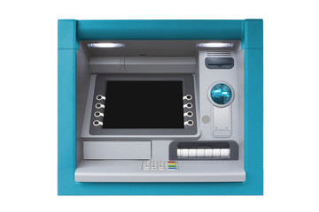 ATM, cashpoint, bancomat with blank bcreen isolated on white