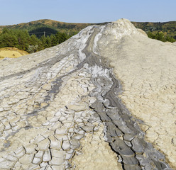 Mud volcanoes's dried clay eruption