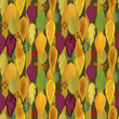Seamless background pattern with colorful autumn leaves and berr