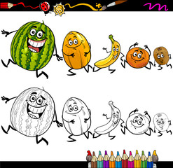 running fruits cartoon coloring page