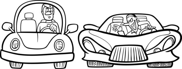 malicious driver cartoon coloring page