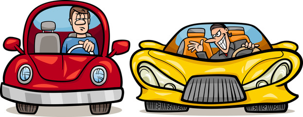 malicious driver cartoon illustration