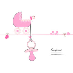 Hanging baby girl soother, stroller and baby symbols vector