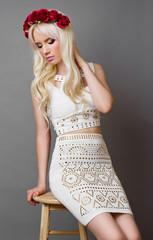 Beautiful blonde girl posing