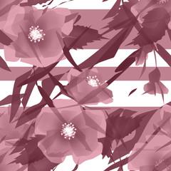Flowers retro seamless pattern on white background