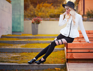 Fashion blonde girl outdoors