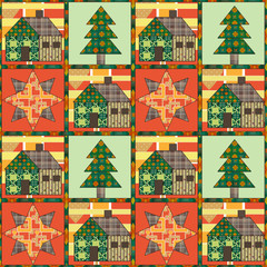 Christmas tree and house seamless pattern background patchwork