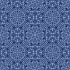 Blue Colors Art Nouveau Style Pattern design. Original Pattern a