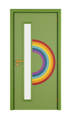 Playroom door with rainbow