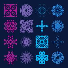 Various Colors of Grid Symbol Sets. Original Pattern and Symbol