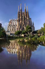 View of Sagrada Familia cathedral in Barcelona in Spain