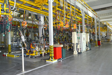 General view of welding shop of automobile plant