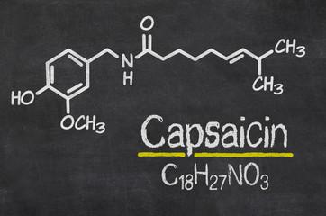 Schiefertafel mit der chemischen Formel von Capsaicin