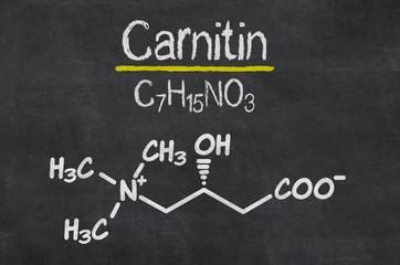 Schiefertafel mit der chemischen Formel von Caritin