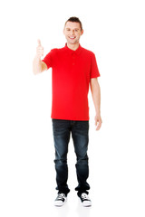 Happy man with ok hand sign