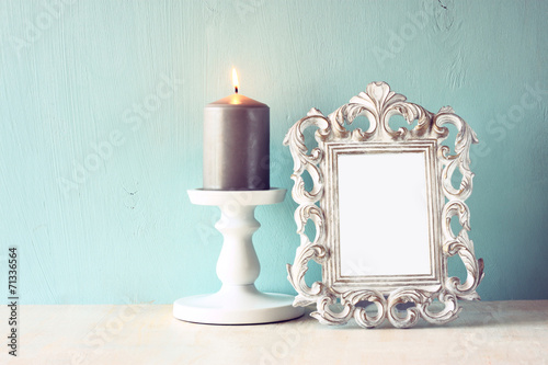 Fotobehang Retro low key image of vintage antique classical frame