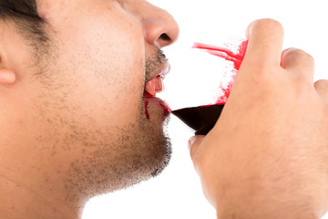 Halloween Vampire drink blood on white background