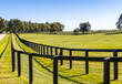 canvas print picture - Double fence at horse farm.