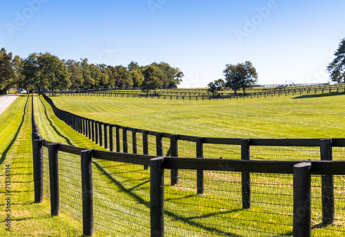 canvas print picture Double fence at horse farm.