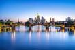 canvas print picture - Frankfurt Skyline bei Nacht