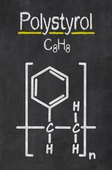 Schiefertafel mit der chemischen Formel von Polystyrol