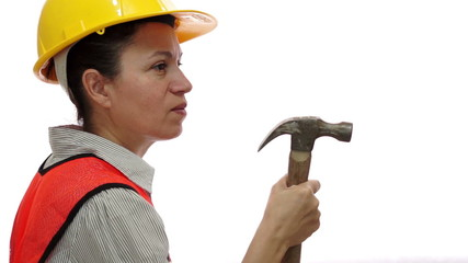 Mad Female Construction Worker With Hammer