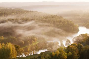 Fog over Neris river in Lithuania next to Vilnius City