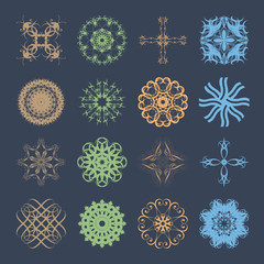 Diverse styles of Wave Symbol Sets. Original Pattern and Symbol