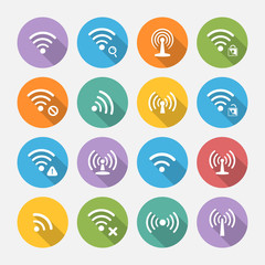 Set of sixteen different flat vector wi-fi and wireless icons wi
