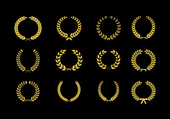 Gold vector laurel wheat floral and foliate wreaths and circular