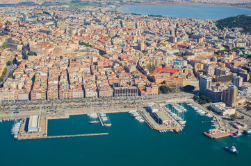 Aerial view of Cagliari harbor