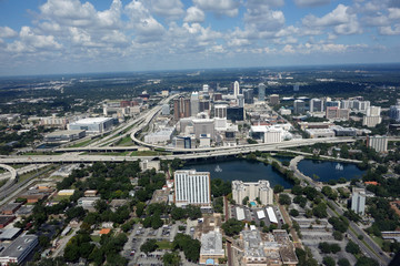 Aerial view of the downtown Orlando, Florida skyline
