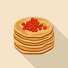 Pancakes with red caviar