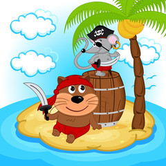 cat mouse pirate - vector  illustration, eps