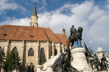 Saint Michael's gothic church and King Mathias statue