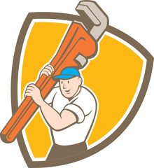 Plumber Carrying Monkey Wrench Shield Cartoon