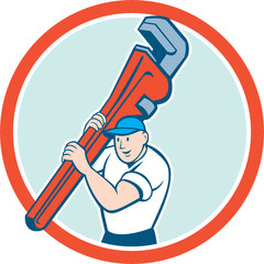 Plumber Carrying Monkey Wrench Circle Cartoon