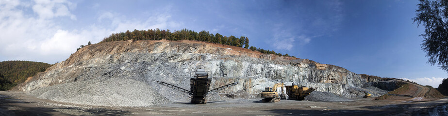 Panoramic view of stone quarry