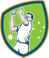 Cricket Fast Bowler Bowling Ball Shield Cartoon