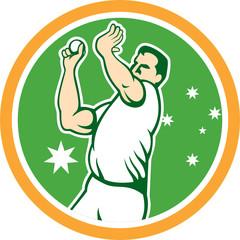 Cricket Fast Bowler Bowling Ball Circle Cartoon