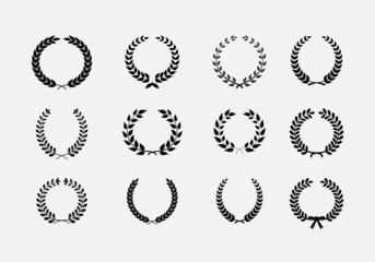 Set of wreaths: wheat circular laurel heraldry reward achievemen