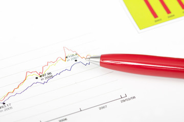 Pen over business chart