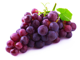 Ripe grapes on white.