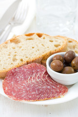 salami with bread and olives
